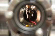 Photo - Liquid microjet delivers sample proteins to a chamber.