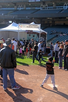 Photo - SLAC's Discovery Days booth sitting just steps away from Giants home plate
