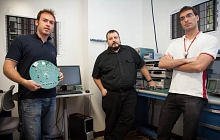 Photo - From left, Pietro Caragiulo, Angelo Dragone and Bojan Markovic of the SLAC Integrated Circuits Department. (Brad Plummer/SLAC)