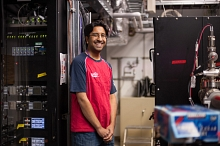 Photo - Ankush Mitra, engineering physicist for the SXR instrument at LCLS, in the SXR hutch. (Matt Beardsley)