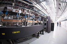 Photo - This XTCAV device installed at SLAC's Linac Coherent Light Source X-ray laser, pictured here with a fish-angle lens, provides precise measurements of X-ray pulse characteristics. (Matt Beardsley)