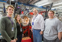 Photo - Some of the members of a Rolls-Royce-led team at SLAC's LCLS explore shocked titanium and titanium alloys. From left: Tom Swinburne, Despina Miathianakis, Michael C. Glavicic, Garth Williams (Fabricio Sousa/SLAC)