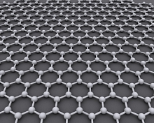 Depiction of carbon atoms arranged in a honeycomb pattern to form graphene