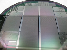 Photo - Several 3-D sensors etched into a silicon wafer