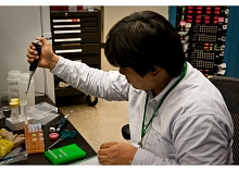Nobutaka Shimizu of KEK's Photon Factory preparing samples (Photo by Lori Ann White.)