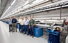 Image - Some of the LCLS team members stand by the newly installed undulators in this 2009 photo. From right: Mike Zurawel, Geoff Pile from Argonne National Laboratory, Paul Emma, Dave Schultz, Heinz-Dieter Nuhn and Don Schafer. (Brad Plummer)