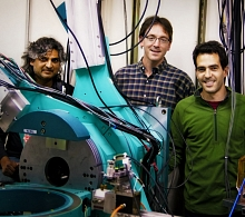 From the left: Apurva Mehta, Aaron Lindenberg, and Mariano Trigo, from Lindenberg's team, on Beamline 10-2, site of SSRL's first pump-probe experiment.