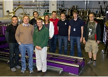 The team that conducted the first experiment on the X-ray Correlation Spectroscopy instrument at SLAC's Linac Coherent Light Source