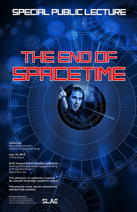 poster art for end of spacetime lecture - physicist points toward the future