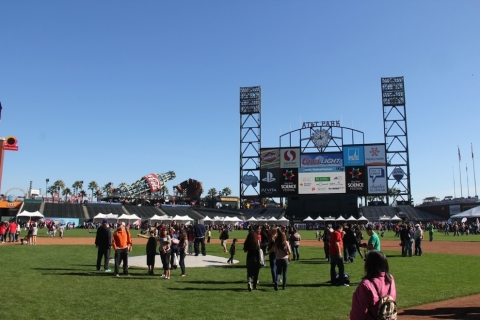 Photo - AT&T Park's baseball field full of families and tents
