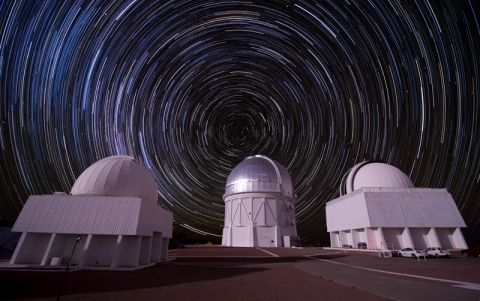 Photo - Composite picture of stars over the Cerro Tol...