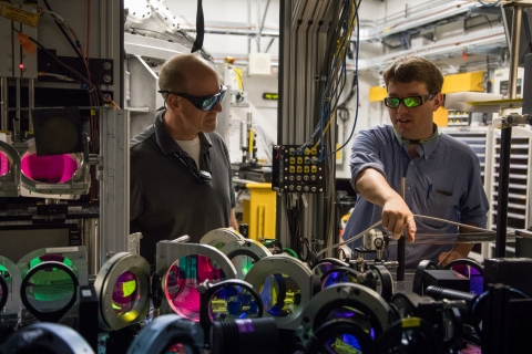 Laser engineers with the upgraded Matter in Extreme Conditions optical laser