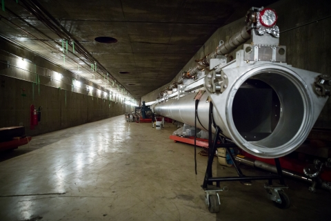 photo - accelerator tunnel with light pipe laying on ground