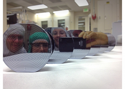 highly polished faces of six dark-matter detectors