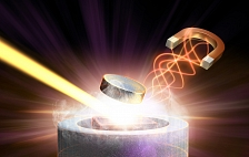 Image - In this artistic rendering, a magnetic pulse (right) and X-ray laser light (left) converge on a superconductor material to study the behavior of its electrons. (SLAC National Accelerator Laboratory)